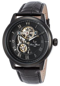 Lucien Piccard Watches Optima Auto Black Genuine Leather Dial and Case 12524-BB-01,    #LucienPiccard,    #12524BB01,    #Dress