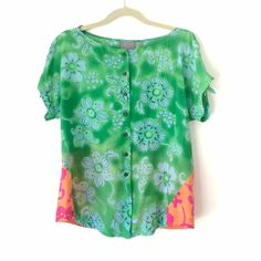 79f07fa3b7202 Vanessa Virginia Anthropologie Silk Floral Blouse Beautiful silk Fata  Morgana Top by vanessa Virginia for anthropologie