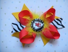 KC Chiefs Zebra Hair Bow with Feather and by SassyPrincessDesigns, $6.00