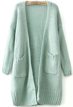 Green Long Sleeve Pockets Knit Cardigan US$25.00