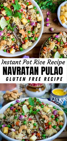 #RiceRecipe #InstantPotRecipe #GlutenfreeRecipe #IndianRecipe #PulaoRecipe #VegetarianRecipe #SoyfreeRecipe #EggfreeRecipe #Sidedish Navratan Pulao, a flavorful and delectable delicacy belongs to Mughlai Cuisine of North India. A healthy, comforting and fragrant, Navratan Pulao is loaded with nuts, flavored with saffron, flower essence and whole spices. This royal Navratan Pulao recipe will surely enhance your palate! Navratan Pulao stands out due to its, jewel-like hues and heavenly fragrance. Bean Recipes, Rice Recipes, Side Dish Recipes, Side Dishes, Vegetarian One Pot Meals, Vegetarian Recipes, Healthy Recipes, Instant Pot Asian Recipes, Indian Beef Recipes