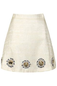 Ivory Skirt Embellished with Gold Thread & Sun Print by Sister Jane
