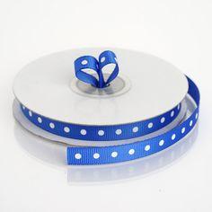 inch x 25 Yards Intricate Single Face Royal Blue Satin Polka Dot Ribbon Royal Blue Wedding Decorations, Ribbon Decorations, Polka Dot Wedding, Pew Bows, Backdrops For Parties, Blue Satin, Grosgrain Ribbon, Ribbons