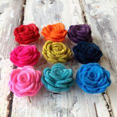 pick your color // mens lapel flower // mens boutonniere // wedding lapel pin // wool felt lapel flower