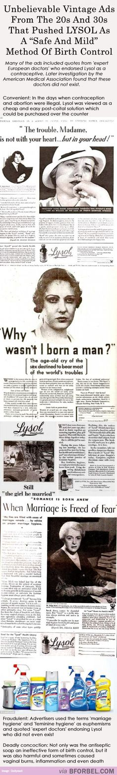 Outrageous Vintage Ads That Claimed Lysol Was A Safe Birth Control…