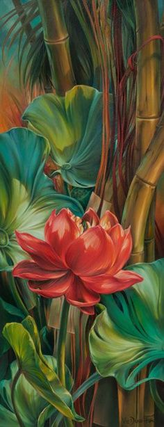 Tropical Awakening by Vie Dunn-Harr, Beautiful painting of tropical plants. Art Paintings, Watercolor Paintings, Tropical Art, Tropical Plants, Tropical Vibes, Arte Floral, Beautiful Paintings, Painting Inspiration, Painting & Drawing