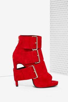 Jeffrey Campbell Cinturon Suede Bootie - Shoes | Open Toe | Jeffrey Campbell