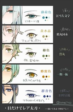 Anime eyes and colours Manga Eyes, Anime Eyes, Digital Painting Tutorials, Digital Art Tutorial, Manga Drawing Tutorials, Drawing Techniques, Anime Drawings Sketches, Anime Sketch, Pencil Drawings