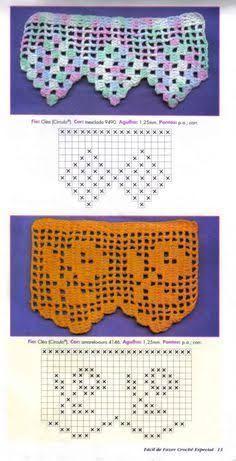 Resultado de imagem para bicos e barrados de croche para pano de prato com grafico