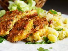 Do mísy nahrubo nastrouháme květák, přidáme sůl, mouku, mléko, koření a zamícháme. Nakonec zlehka vmícháme sníh. Lžící tvoříme placky a opečeme... Gluten Free Recipes, Easy Recipes, Vegetable Recipes, Free Food, Cauliflower, Easy Meals, Tasty, Chicken, Vegetables