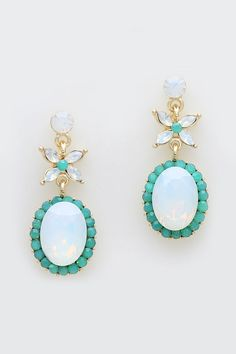 Anne Marie Earrings in Mint Opalescence on Emma Stine Limited