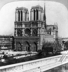 859 years ago, construction began on the Notre Dame Cathedral in Paris. This is a photo of Notre Dame as your great-grandparents would haveen it. Paris France, Paris Photos, Gothic Architecture, Black And White Photography, Line Art, Vintage Photos, Places To See, Facade, Mansions