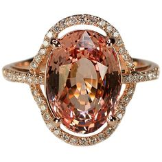 No Heat Ceylon Padparadscha Sapphire Pink Gold Ring | From a unique collection of vintage more rings at https://www.1stdibs.com/jewelry/rings/more-rings/