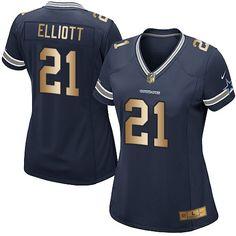 519bbf8de Nike Dallas Cowboys Women s  21 Ezekiel Elliott Elite Navy Gold Home NFL  Jersey