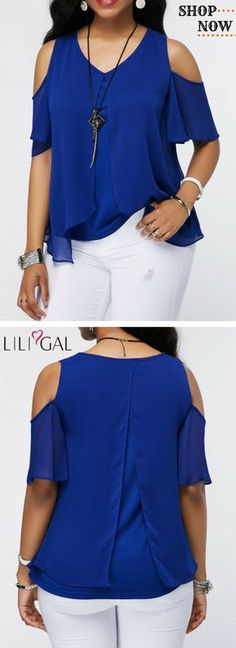 V Neck Royal Blue Chiffon Overlay Blouse Blouse Styles, Blouse Designs, Casual Outfits, Cute Outfits, Printed Blouse, Dress Patterns, Royal Blue, Knitwear, Chiffon