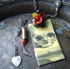 Day of the Dead Skull n Lipstick Bullet Necklace by behressentials, $50.00