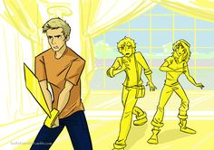 Scene feom The Lost Hero: Jason Grace facing off against Lityerses in the mansion of King Midas with Leo Valdez and Piper McLean transformed into gold statues behind him Magnus Chase, Percy Jackson Fandom, Solangelo, Percabeth, Fanart, The Lost Hero, Percy And Annabeth, Piper Mclean, Rick Y
