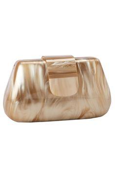 5e8e64230e47 Le Chic Beata Pearl Lucite Clutch in Brown - Beyond the Rack Big Bags