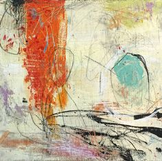 NANCY HILLIS Red Falls, mixed media painting on panel