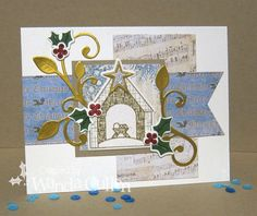 Hand stamped Christmas card by Wanda Cullen using the Weary World stamp set and Starry Stable Die Set from Verve. #vervestamps | nativity