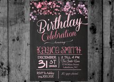 Pink Glitter Surprise Confetti Birthday Party Printable Invitation on Etsy, $12.00
