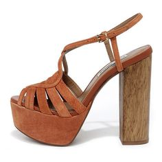 a53b74b69d0 Steve Madden Gingur Chestnut Brown Suede Leather Platform Heels ( 129) ❤  liked on Polyvore