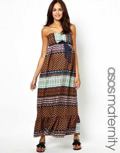 433dd78c2d4d4 Asos Maternity Exclusive Bandeau Maxi Dress In Print on shopstyle.com Asos  Maternity, Beautiful