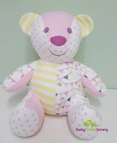 Amazing Home Sewing Crafts Ideas. Incredible Home Sewing Crafts Ideas. Teddy Bear Patterns Free, Teddy Bear Sewing Pattern, Sewing Patterns Free, Sewing Stuffed Animals, Stuffed Animal Patterns, Old Baby Clothes, Memory Crafts, Memory Pillows, Fabric Animals