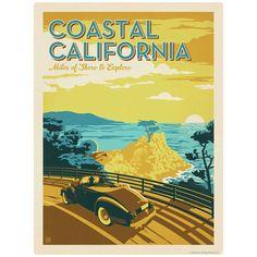 Coastal California Woodie Wagon Vinyl Sticker