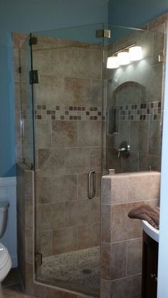 Frame less neo angle showers are great when your short on space! Family Bathroom, Small Bathroom, Master Bathroom, Bathroom Ideas, Restroom Ideas, Bathroom Showers, Bathroom Layout, Neo Angle Shower, Luxury Shower