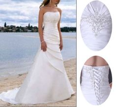 Stock White Ivory A-Line Wedding Dresses Satin Bridal Gowns Size 6 8 10 12 14 16