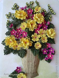 Картина панно рисунок Квиллинг Букет в бронзовой вазе Бумага фото 2