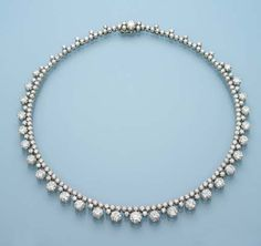 Necklaces Simple A DIAMOND NECKLACE Designed as graduated diamond collets joined to the diamond collet line, platinum, length - Diamond Necklace Simple, Diamond Pendant Necklace, Diamond Jewelry, Diamond Rings, Sterling Necklaces, Silver Diamonds, Necklace Designs, Fashion Necklace, Bridal Jewelry