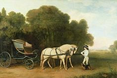 A Phaeton With A Pair Of Cream Ponies In The Charge Of A Stable-lad Print By George Stubbs  This site will let you order prints or cards!