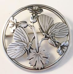View this item and discover similar for sale at - Georg Jensen Sterling Silver Butterfly and stylized Flowers Brooch, century. Fully hallmarked Georg Jensen oval dotted punch, Sterling Denmark and Antique Brooches, Antique Jewelry, Silver Jewelry, Vintage Jewelry, Silver Earrings, Silver Bracelets, Metal Clay Jewelry, Jewelry Art, Jewelry Design
