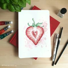 Lovely summer fruit painting I created for #spillcolorthissummerchallenge. I decided do paint a gorgeous strawberry slice. Can you see the little heart in the middle of the strawberry? I really love how it turned out and how the red and greens look on this drawing. #watercolor #watercolour #fruitpainting #summerfruit #strawberry Strawberry Slice, Fruit Painting, Watercolor Paintings, Watercolour, Summer Fruit, White Ink, My Drawings, About Me Blog, Create