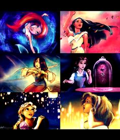 From left to right: Ariel, Pocahontas, Mulan, Belle, Rapunzel & Esmeralda.