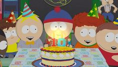 South Park this episode makes me weep like a baby all night!(Youre getting old):'( Anime Chibi, Funny Halloween Jokes, Shabby Chic Design, Trey Parker, Happy Birthday Wallpaper, Anniversary Greetings, South Park Fanart, Park Pictures, 10th Birthday Parties