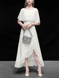 White Chiffon Vintage Maxi Dress With High low Hem – Jolly Vintage White Chiffon, Lace Collar, Classy Dress, Swing Dress, Vintage Dresses, High Low, Girl Outfits, White Dress, Paper Dolls
