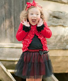 Loving this Red & Black Tutu Skirt - Infant, Toddler & Girls on #zulily! #zulilyfinds