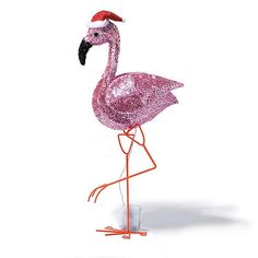 """Festive Light-Up Flamingo 
