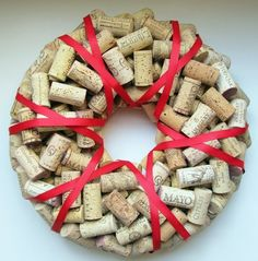 awesome DIY christmas wreath ideas cork wreath red ribbon christmas crafts