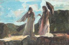 Gheorghe Petrașcu - Femei la promenadă Subic, Noiembrie, 1 Mai, Europe, Paintings, Czech Republic, Slovenia, Impressionism, Hungary