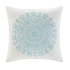 """The Echo Paros Bedding Collection gives your bedroom a fresh, modern update. Made from cotton faux linen, this 16x16"""" square decorative pillow is inspired by the rustic nature of the Greek islands. Like the Paros bedding collection, the islands have incredibly beautiful beaches next to rustic, original architechture. Teal embroidery gives a special touch to the cream faux linen base providing the perfect balance between the bedding and this decorative pillow."""