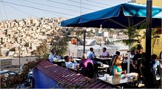 Amman, Jordan. Sunset on the terrace of Books@Cafe, a combination bookstore, cafe and restaurant in the Jabal Amman district. Bryan Denton for The New York Times
