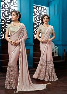 Price @9940.00 INR Colour : Peach Saree Fabric : Chiffon Blouse Fabric : Fancy Blouse Work : Heavy Embroidery