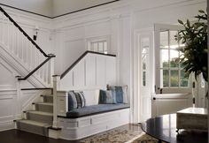 Classic Hamptons House ~ foyer + bench + Dutch door (perfect for a farmhouse) + amazing architectural details + hardwood floors. Design Entrée, House Design, Design Ideas, Foyer Bench, Entry Foyer, Open Entryway, Entryway Runner, Entryway Stairs, Door Entry