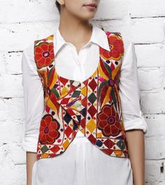 Handcrafted White Choli Jacket with Kutch Embroidery
