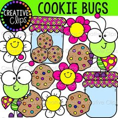 {FREE} Cookie Bugs Clipart {Insect Clipart} by Krista Wallden - Creative Clips Christmas Gift Clip Art, Insect Clipart, Free Watercolor Flowers, Camera Clip Art, School Clipart, Classroom Clipart, Spring Coloring Pages, Digital Paper Free, Silhouette Clip Art