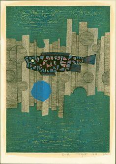 'blue fish (green background)' woodblock by fumio fujita Japanese Prints, Japanese Art, Japanese Woodcut, A Level Art, Art For Art Sake, Teaching Art, Woodblock Print, Abstract Expressionism, Art Projects